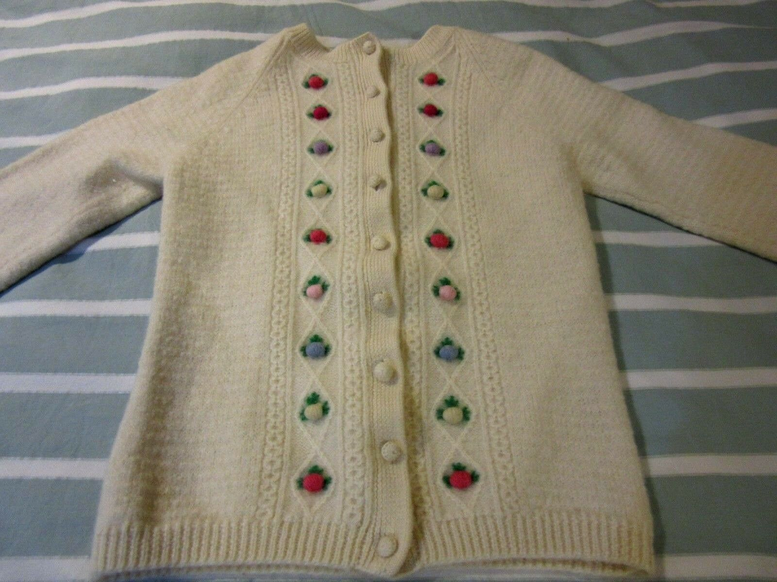 Vintage British Bermuda Lady Clansman White Cardigan Sweater 3D Flowers small