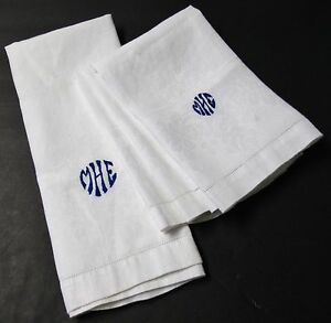 Antique White Linen Towels Blue M H E Monograms Rose Borders Hemstitched