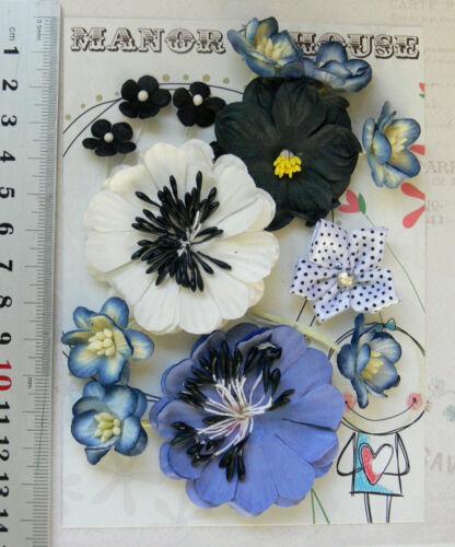 12 Paper /& 1 Satin Flower 5 Styles 15-50mm across VD4 BLUE WHITE /& BLACK Mix