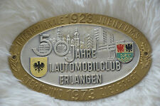 Oldtimer Plakette, 50 Jahre 1. Automobilclub Erlangen 1973, ADAC, wie neu!