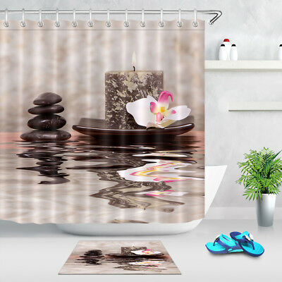 """Hooks Candle and Spa stones Orchid Zen 71X71/"""" Shower Curtain Waterproof Fabric"""