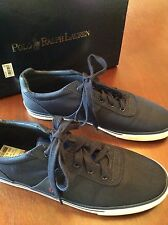 NIB RALPH LAUREN HANFORD TENNIS SHOES/TRAINERS NAVY BLUE NYLON RED PONY 12 D