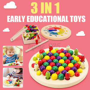 3-in-1 Wooden Clip Beads Game Early Educational Toys for Kids Toddler Gifts
