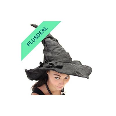 Verformbarer schwarzer Deluxe Hexenhut mit Flicken Hexen Hut Kostüm Zubehör Hall