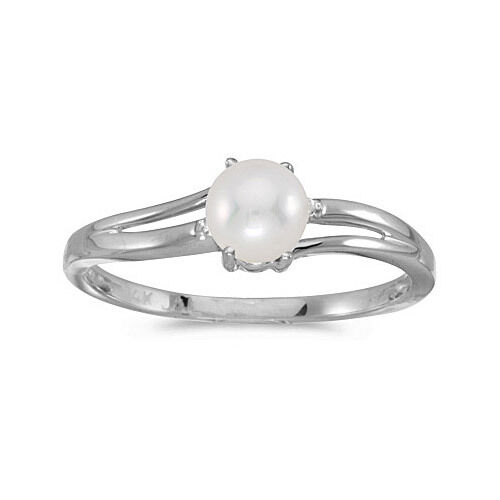 14k White gold Cultured Freshwater Pearl & Diamond Ring (CM-RM1992XW-06)