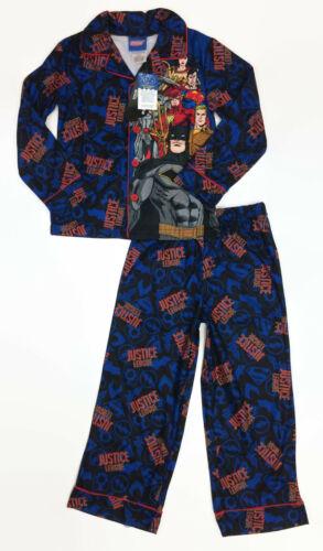 DC Comics Boys Blue Justice League Superheroes Coat-Style Pajamas Sleepwear Set