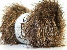 Large 100 Gram Skein Camel & Brown Long Eyelash Yarn #22703 Ice Fun Fur