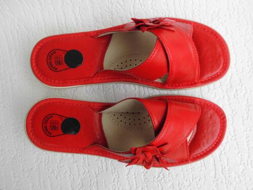 Hausschuhe Gr.41,5 Echt LEDER Rot *Komfortweite* PL.25-4-5-24 Pantolette