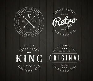 custom retro vintage logo design ebay. Black Bedroom Furniture Sets. Home Design Ideas