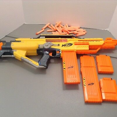 Nerf N Strike Stampede Ecs Auto With Four Magazines Ammo