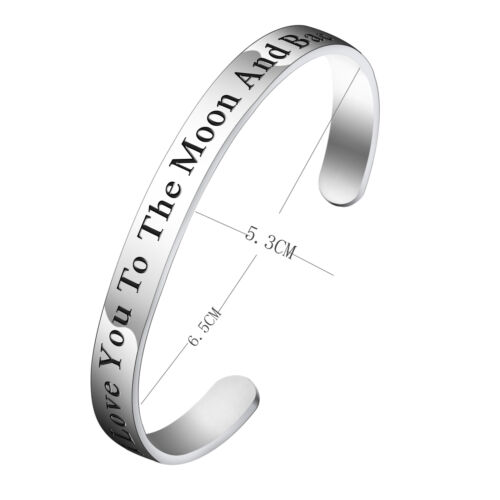 Engraved Quote Hand Stamped Bracelet Love Open Cuff Bangle Stainless Steel Gifts
