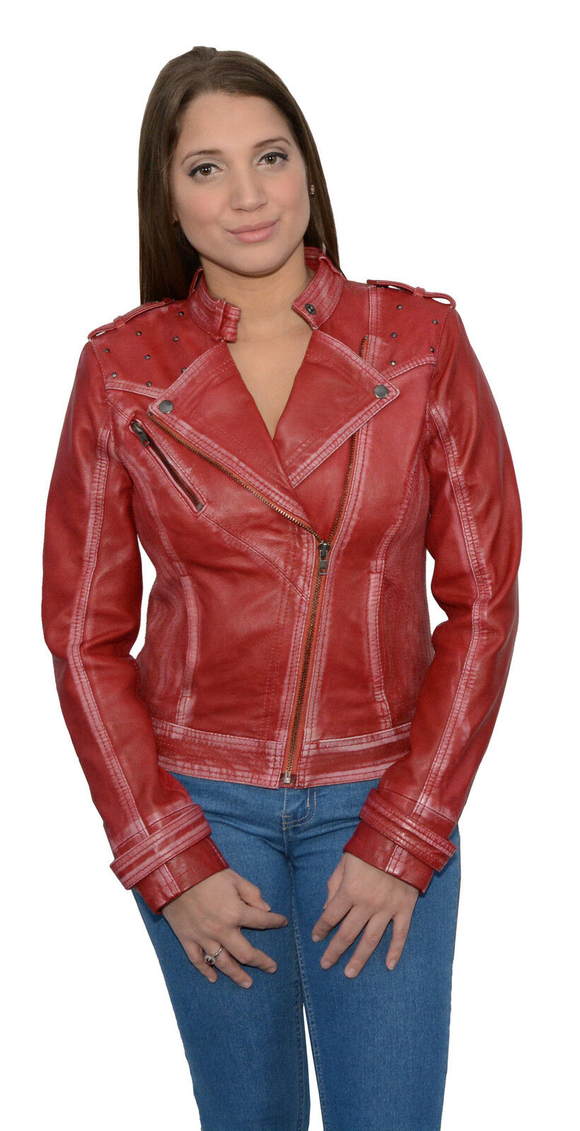 WOMEN'S RACER SHORT FASHION MC STYLE RED blueE COLOR VERY SOFT REAL LEATHER NEW