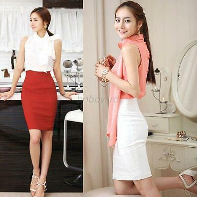 Women Fashion OL Slim Fitted Knee Length Pencil Skirt High Waist Solid Straight
