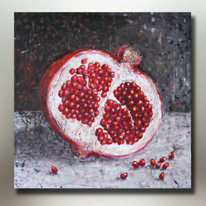 Original-Pomegranate-Painting-on-18-034-x-18-034-Canvas-Signed-by-Artist