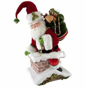 "Katherine's 22"" SANTA CLIMBING CHIMNEY Christmas Tree Topper Table Top 28-828324"