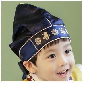 Korean-Traditional-Hanbok-Bokgeon-Hood-Hat-Birthday-Party-Costume-Baby-Boys-Navy
