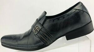 Robert-Wayne-Collection-Loafers-Slice-Blue-Slip-On-Leather-Dress-Shoes-Mens-US-7