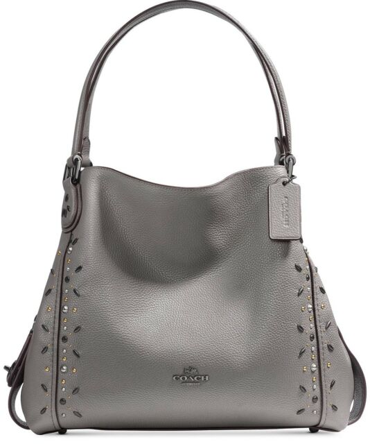 60930fb443bd Coach 22794 Edie Shoulder Bag 31 With Prairie Rivets Dark Antique Heather  Grey