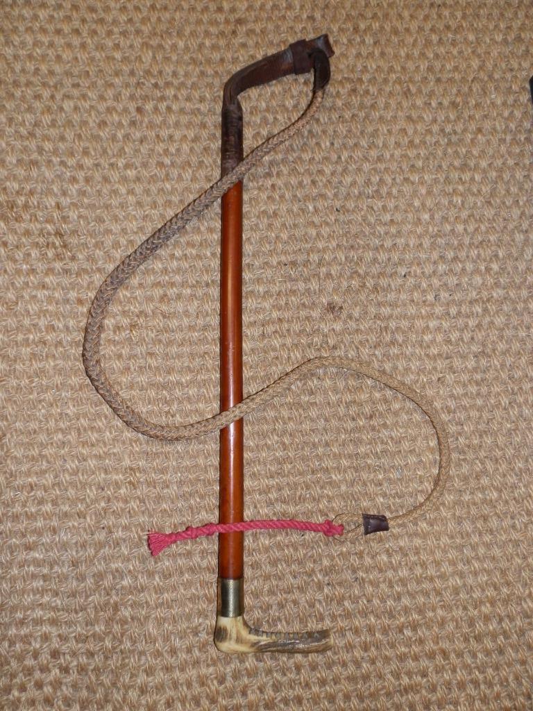 Antiguo Caballero Caza Látigo-máquina rodado sin Probar oro Cuello y Original Lash