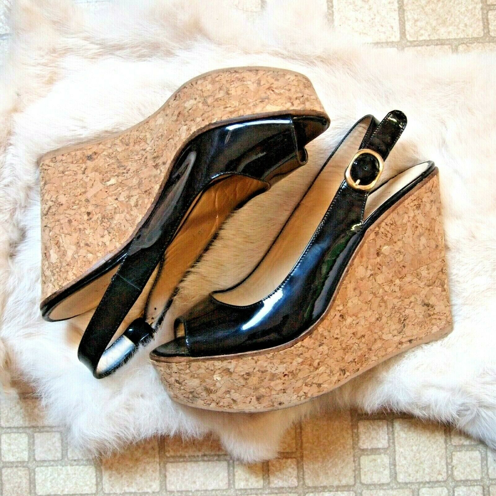 LK Bennett Rosie genuine cork wedge sandal black patent slingback 38 U.S. 7.5