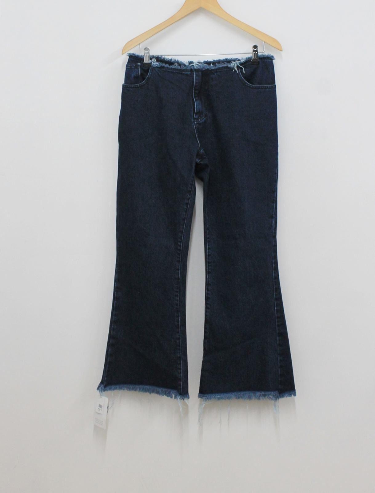 BNWT MARQUES ALMEIDA Donna Blu Navy Cotone Cucitura Trim gambe larghe Taglia UK12