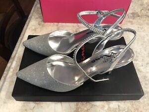Touch-Of-Nina-Dark-Silver-Women-s-Size-6-5-Heels