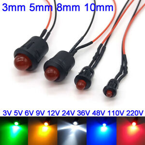 5pcs-3-5-8-10mm-Pre-Wired-LEDs-3V-220V-Red-Blue-Green-White-Yellow-With-Holders