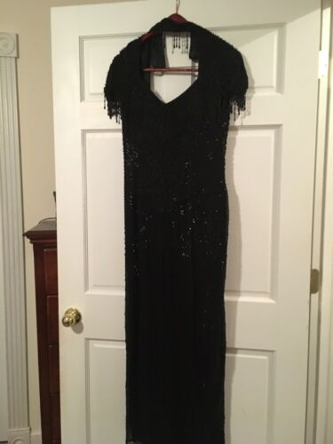 Black Beaded Evening Gown Reduced