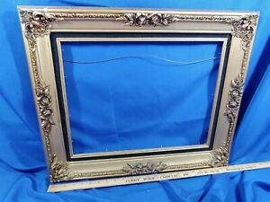 FANCY-Gold-Black-Art-Painting-Picture-Frame-Wood-VTG-Antique-Style-Gilt-24x20