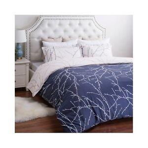 Modern Tree Duvet Set Contemporary Blue Bedroom Bedding Bed Cover Shams 3pc NEW