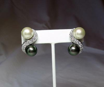 Retro, Vintage 1930s-1980s Humor Jackie Collins Estate Earrings Black White Pearl Diamond Paste Celebrity Jewelry Durable Modeling Other Entertainment Mem