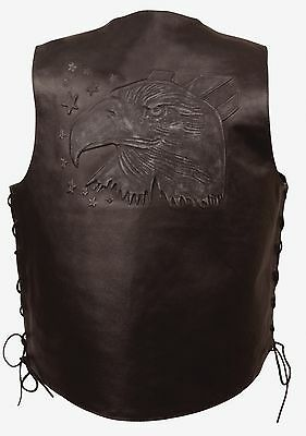 Stars Mens Black Solid Leather Vest w Embossed Eagle Head