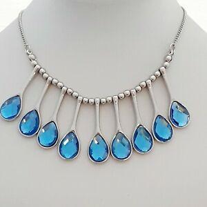 Fabulous-Sky-Blue-Faceted-Glass-Pear-Shaped-Vintage-Style-Fan-Bib-Necklace