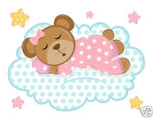 Pink Teddy Bear Wall Mural Decals Cloud Stars Baby Girl Nursery Art Stickers