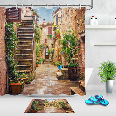 Alley in old Town Pitigliano Tuscany Italy Shower Curtain Set Waterproof Fabric