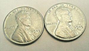 1 AU Steel 1943 wheat cent  per lot