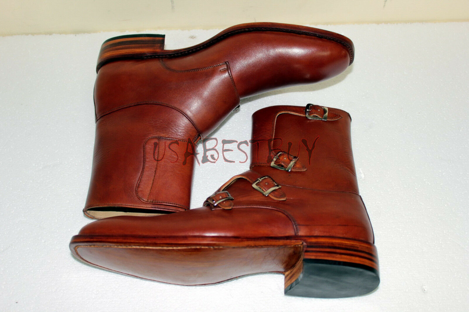 New Handmade Mens 4 Buckles Real Leather Stiefel, Men dessert dessert dessert Stiefel, ankle Stiefel e36a8a