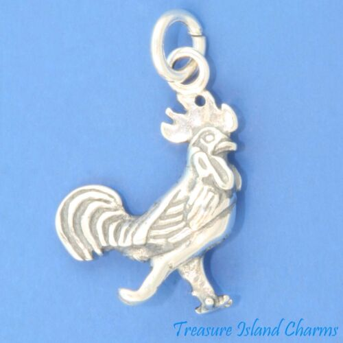 Rooster Chicken Hen Bird 3D .925 Solid Sterling Silver Charm Pendant MADE IN USA