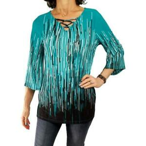 EASYWEAR CHICOS S 0 green black white geometric lace neck tunic knit top 3/4 slv