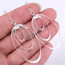 """Ladies 925 Sterling Silver Fashion 2.5 x 1"""" Big Oval 3-Hoop Dangle Earrings Y136"""