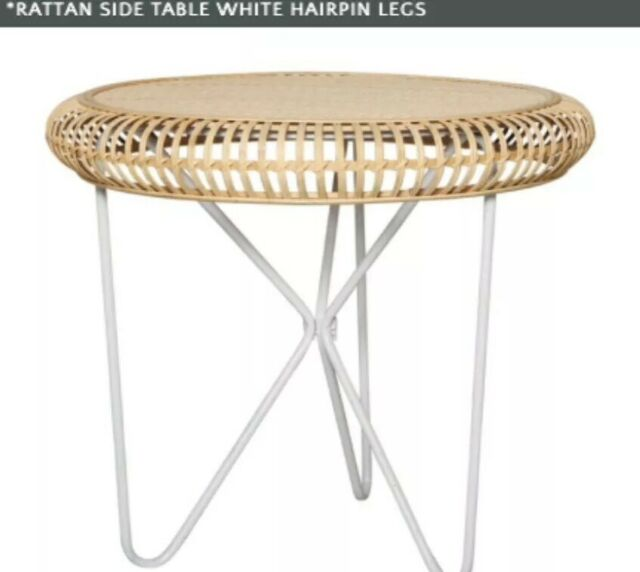 Rattan Round Side Table Bedside Coffee Stand Glass Top Tray Living