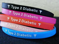 Diabetes Type 2 Diabetic Bracelet Black Blue Red Pink Us Seller