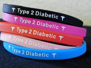 Wristbands 2019 New Style Diabetes Type 2 Diabetic Bracelet Black Blue Red Pink Us Seller