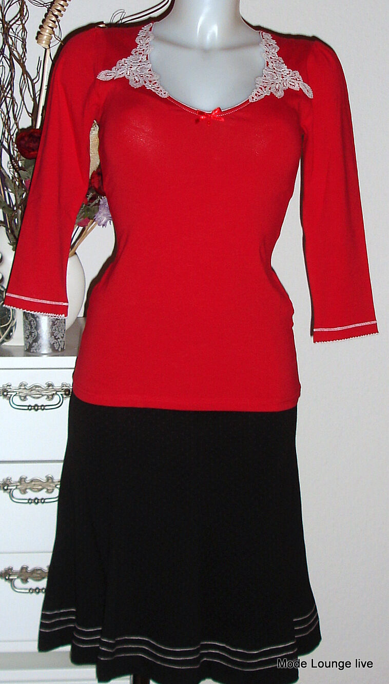 Vive Maria Shirt Blause rot Spitze Schleife Top 3 4-Arm Boheme rot 28977