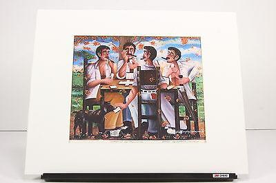 Felix Gonzolez Sanchez 2002 Cuban Domino Players Cigar Smokers Print Signed