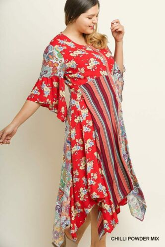 NWT XL 1X 2X Umgee Womens Floral Multicolor Bell Sleeve Button Maxi Dress Plus
