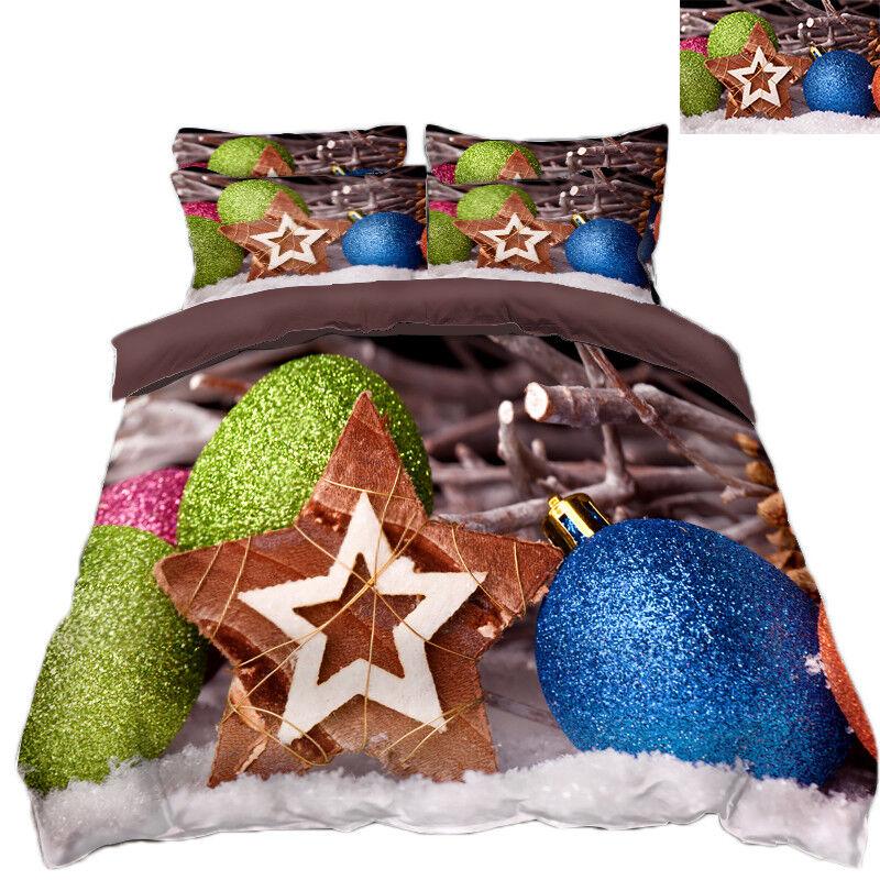 3D Christmas Xmas Ball 532 Bed Pillowcases Quilt Duvet Cover Set Single KingUK