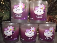 5 Glade Glass Jar Candles PINK PETALS WILD VIOLETS 4 oz Each Candle