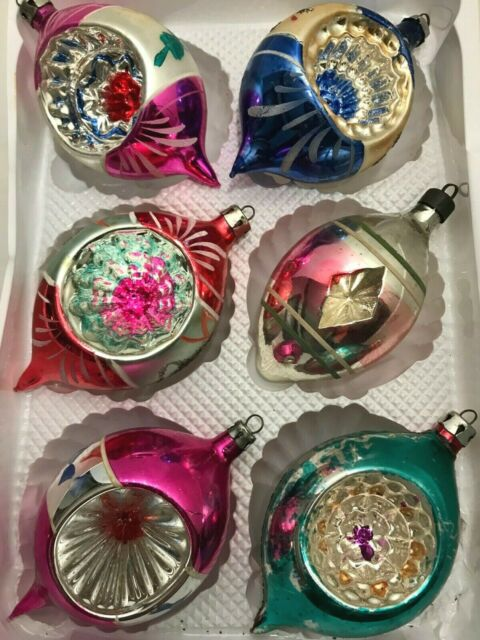 6 Vintage Indented Glass Reflective Christmas Tree Bulb Ornaments Blue Pink