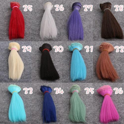 15*100cm DIY High Temperature Mini Tresses Doll Wig Straight Hair BJD Doll Wig